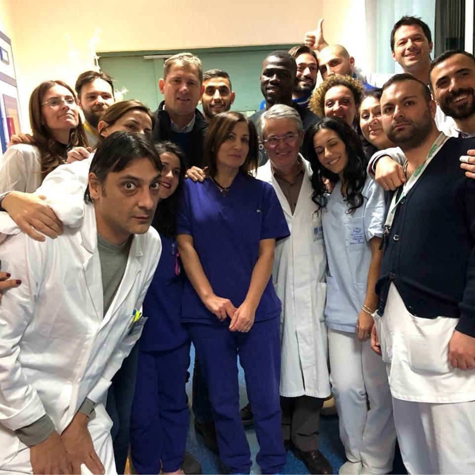Ghoulam e Koulibaly in vista al nuovo reparto di neurologia al Santobono